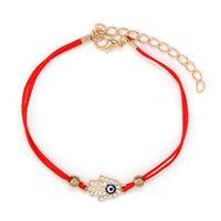 Paisagem cênica Palm Cross Red Rope Fatima Tecido Devil Eye Bracelet Feminino