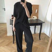 Kadın Pantolon Lufu Yaz Güney Kore Tasarım Drape Elastik Asılı Yüksek Bel Geniş Bacak Gevşek Zemin Pantolon Kadın Kadın