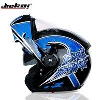 Motorcycle Helmets JIEKAI Double Visor Carbon Fiber Moto Casco Modular Flip Up Helmet DOT Approved 115 Racing Motocross