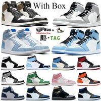 2021 con caja Jumpman 1 1S Zapatos de baloncesto para hombre High Light Smoke Grey UNC Lucky Green University Blue Obsidian Sneakers Trainers Tamaño 36-47