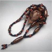 Nine-Eyed Dzi Beaded Pendant Necklace Free Ship ping