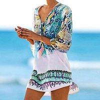 Beach Caftan Swimsuit Print Chiffon Pareo Robe Plage Dress Sexy Sarong Tunic Beachwear Women's Summer Bikini Cover Up Swimwear