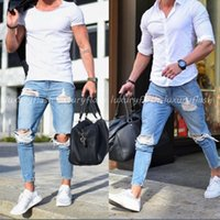 Fashion Casual Men's Jeans Slim Water Mill Big Hole Pencil Pants Street Hip Hop Designer Torn Wind Fashion Casual Pants Trousers