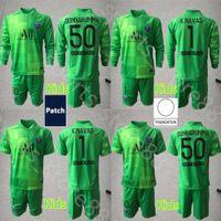 21 22 kits Youth Germain Manches longues Soccer Jerseys GK 2021 2022 K.Navas Gardien de but 1 Keylor Navas 50 Gianluigi Donnarumla Kit Kit de football