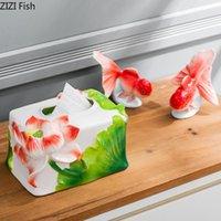 로터스 구호 조각 티슈 상자 현대적인 장식 세라믹 상자 저녁 식사 테이블 냅킨 홀더 도자기 종이 수건 주최자 냅킨