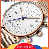GRATIS CRRJU UOMO GUARDA PIÙ TOP LUXURY Cronografo Mesh in acciaio inox orologio da polso in acciaio inox DMilitary-resistente al quarzo da appuntamento militare