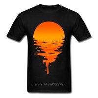 Акварель рисунок закат сцена футболки мужские гавайские пляжные блестящие футболки оранжевые цветные рубашки летом новая мужская футболка