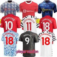 21 22 Manchester Top Fc futebol Jersey Greenwood Pogba Rashford Manga Longa Camisa de Futebol Bruno Fernandes Martial Utd Kit 21 22 Homem Crianças Uniforme
