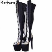 Chaussures de plate-forme de plate-forme à talons hauts sur mesure sur les bottines brunes bottines brunes bottines brunes k5ah #