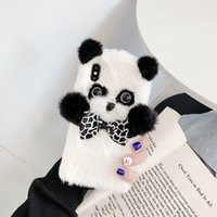 3D Panda Cartoon Cell Phone Cases Furry Fur Fashion Soft Cozy Case Kid Girl Cute Cover for Iphone 7 8plus Xr XsMax 11 12 13 Pro Max