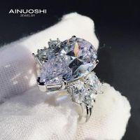 Anneaux de cluster Ainuoshi 925 Sterling Argent Sterling Luxe 9x15mm Sona Sona Sona Diamond Engagement de mariage Cadeaux uniques pour les femmes