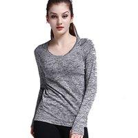 Yoga Deportes Camiseta de manga larga Correr al aire libre Fitness Abrigo redondo Cuello redondo Camisa de fondo Casual Weark5uh