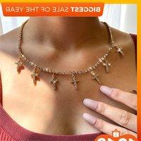 Fashion Cross Flag Cherry Little Hanger For Women Gold Color Luxury Street Tennis Chain Girl Jewelry