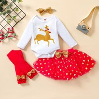Clothing Sets 4Pcs Christmas Baby Girls Outfit, Little Fawn Printing Long Sleeve Round Collar Romper + Dot Mesh Skirt Leggings Headwear