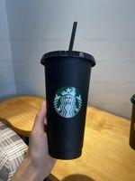 Mermaid Starbucks 24 OZ Plastik İçecek Suyu Kupası ve Saman Sihirli Kahve Fincanı Özel Starbucks Plastik Kupası, Logo Özelleştirebilirsiniz 10 Adet Kupa 66 KNMD