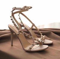 Luxury Summer Rockstud Sandals Slingback Tacchi alti Donne Eleganti Signore Gladiatore Sandalo Partito Sandalo Bridal UE 34-43, con scatola