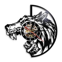 Wall Clocks Lycanthrope Werewolf LP Record Clock Wolf Hunting Decor Creature Fantasy Art Carved Gramophone Music