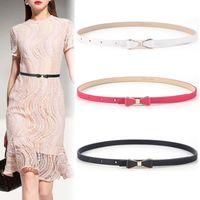 Bowknot fine leather versatile women's decorative belt with dress, sweater, skirt and cowhide waist belt