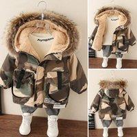 Coat Winter Boys Baby Fur Collar Hooded Cotton Plus Velvet Thicken Warm Camouflage Jacket For Children's Outwear Kids Clothes