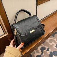Designer- handbag shoulder bag retro messenger bag stone pattern lady bag casual female mobile phone wallet
