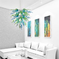 Nordic Lamps Hand Blown Glass Crystal Chandeliers Green Blue White Clear Color LED Light Source Chain Pendant Lighting 24 by 32 Inches
