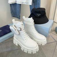 Monolith White Bolsa de Nylon Bolsa de Nylon Botas de Combate Plataforma Plataforma Lace-Up Redonda Toe Toe Bloqueio Botinhas Flat Chunky Luxury Designer para mulheres Calçado de fábrica