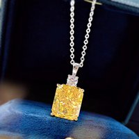 Necklaces Mujing Jewelry 2021 S925 Silver 10 * 12 Ice Cut Women's Water Wave Chain Yellow Flower Necklace