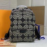 배낭 대용량 배낭 남성 여성 캔버스 배낭 최신 스타일 패션 편지 인쇄 어깨 가방 Schoolbag 진짜 가죽 벨트 가방