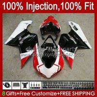 Injection Bodys For DUCATI 1198R 848 1098 1198 S R 2007 2008 2009 2010 2011 2012 18No.42 Bodywork 848S 1098S Red black white 1198S 848R 1098R 07 08 09 10 11 12 OEM Fairing Kit