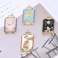 Charms Juya El Sanatları Emaye Ranibow Nazar Mısır Ay Yıldız Tanrı DIY Lüks Kolye Yaka Takı Yapımı Malzemeleri
