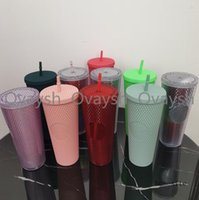 New 2021 Starbucks Double Red Durian Laser Straw Cup 710ML Tumblers Mermaid Plastic Cold Water Coffee Cups Gift Mug