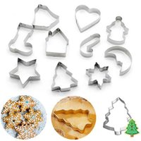 Baking Moulds 10pcs Set Stainless Steel Christmas Cookie Tools Cutters Xmas Tree Star House Bells Snowflake Cake Biscuit Fondant Mold