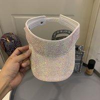 브랜드 여성 모자 디자이너 모자 여성용 Sunshade Hat PP 잔디 모자 2021 새로운 스타일의 할로우 워 - 아웃 클래식 전체 드릴 중공 캡 화이트