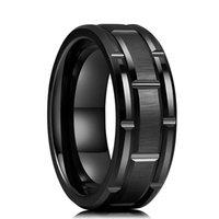 Amor anillo moda 8 mm hombre negro tungsteno carburo patrón de ladrillo rooked roove compromiso boda fiesta joyería