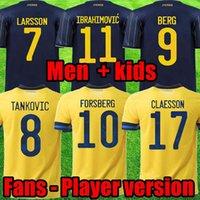 남자 아이들 2021 스웨덴 축구 유니폼 21 22 홈 멀리 ibrahimovic 키트 Kulusevski Berg Forsberg Larsson Tankovic Isak Claesson 축구 셔츠