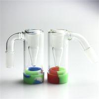 3 pulgadas de 14 mm de cristal masculino Ashcatcher Hookah Bong con reclamador de reclamador de silicona colorido Reclamador Pyrex Ash Catcher Agua Fumar tubos