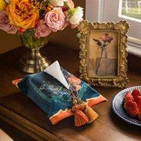 Fågel blommig tryck sammet hållare dekorativa servett papper ansikts vävnad låda täcke med tofs till sovrum badrum bil