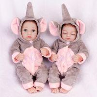 """10 """"미니 귀여운 쌍둥이 쌍둥이 아기 인형 실리콘 아기 전신 비닐 실리콘 크리스마스 생일 선물"""