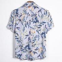 Dihope Summer Pure Cotton Mens Hawaiian Shirt Printed Short Sleeve Big Us Size Hawaii Flower Beach Floral Patterns