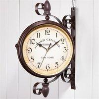 European Wall Clock Modern Design Double-sided Hanging Iron Rack Coffee Shop Decoration Classical Watch Home Decor Clocks