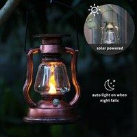 Solar Lamps Powered Hanging Candle Light Retro LEDs Oil Lamp Flickering Flameless Lantern Outdoor Lighting Garden Yard