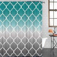 Fas Turkuaz Degrade Duş Perdesi Polyester Kumaş Su Geçirmez Perdeler Modern Banyo