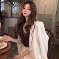 Autumn 2021 Hong Kong Style Loose Shoulder Padded Suit Top Medium Length Long Sleeve White For Women Women's Suits & Blazers