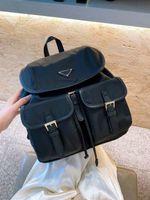Damen Designer Tasche Mode Rucksäcke Feine Textur Große Größe Großraum Innentaschen Qualität Luxurys Schule Preppy Stil Feste Farbe Schwarz