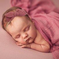 Ins جديد الطفل القوس عقال مع القماش الأزهار الفن والديكور اليدوية حديثي الولادة لون الشاش الشعر