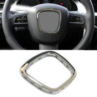ABS chrome car steering trim wheel badge cover center emblem frame sticker for Audi A3 S3 8P A4 B6 B7 B8 A5 A6 C6 Q5 Q7