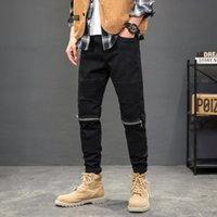 Men's Jeans American Street Style Fashion Men Black Elastic Slim Fit Zipper Spliced Designer Biker Hip Hop Denim Punk Pants