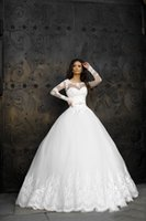 2022 Sheer Long Sleeves A-Line Satin Wedding Dresses Lace Bridal Gown Jewel Formal Princess Gowns