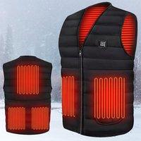 Men Autumn Winter Smart Heating Cotton Vest Usb Infrared Electric Women Outdoor Flexible Thermal Warm Jacket Men's Vests