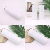 Sublimación en blanco Cosa recta Botella de agua blanca 20 oz tazas Staliness Steal Tumblers con tapa y paja 430 S2